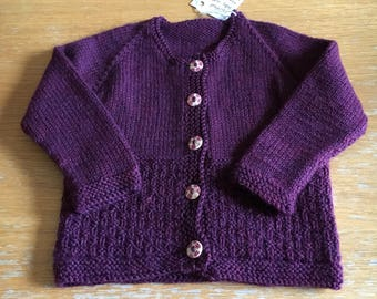 Baby girl hand-knitted wool blend cardigan sweater size 12m