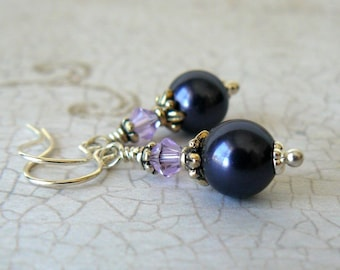 Dark Purple Pearl Earrings, Two Toned Purple Swarovski Elements Crystals, Vintage Style Pearl Dangles, Bridesmaid Earrings, Wedding Jewelry