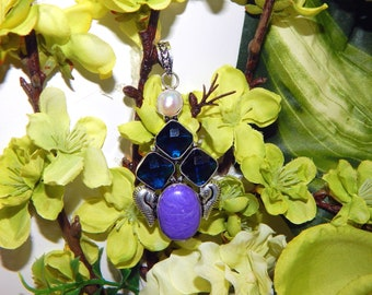 DUO Merman inspired vessel - Handcrafted Charoite Blue Topaz pendant necklace