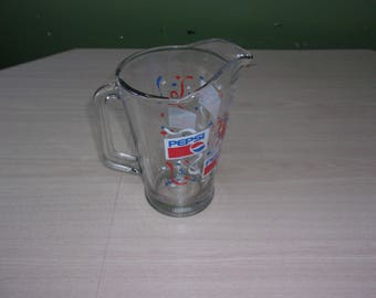 Large vintage glass pitcher, Pepsi pitcher, vintage barware, drink and water pitcher