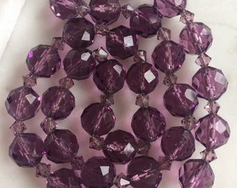 Vintage Purple Faceted Glass Beads Necklace On Chain