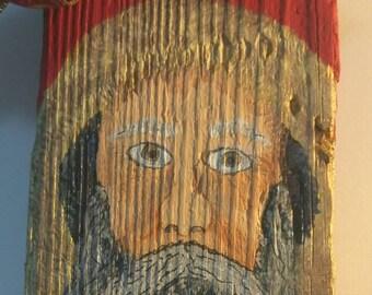Santa, Driftwood Santa, Acrylic painting, Only One, Original Art, Wall Art. 16x8x1 inches.
