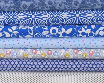I've Got the Blues Bundle of 8 Quarter Yard Cuts, Cotton Quilt Fabric Bundle on Sale