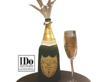 Birthday Champagne Label and Collar for Cake - Custom Digital artwork to send to Edible Printing Shop -Artwork Only