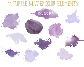 11 purple watercolor elements, watercolor clip art