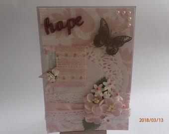 Shabby chic, handmade ladies greeting card