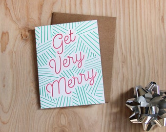 Get Very Merry, letterpress holiday card, set of 6