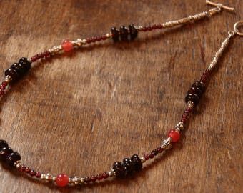 The Choker necklace in Garnet and Red jade