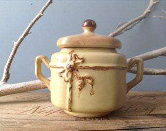 VINTAGE DECOR...sugar caddy ~ pot ~ pottery keepsake-wedding ring holder -mid century design