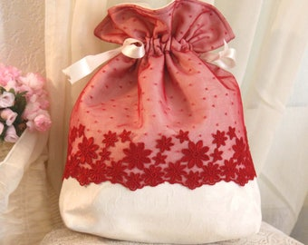 bag pouch damask ivory lace tulle embroidered red daisies