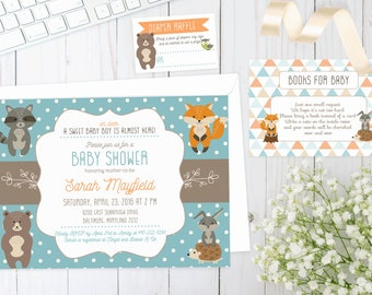 WOODLAND BABY SHOWER Invite | Printed | Baby Boy | Invitation with forest animals, creatures, fox, deer, hedgehog, racoon, rabbit, bear