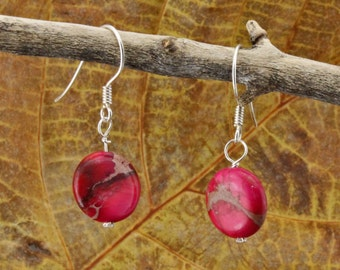 Sterling Silver and Red Dyed Jasper earrings