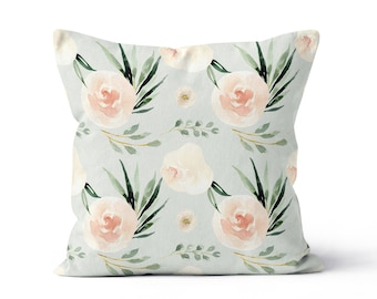 Pillow Cover Floral Mint Peach Rose