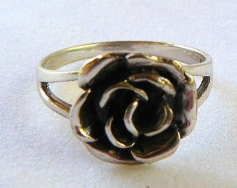Vintage Sterling Silver Rose Shaped Ring Rose Ring
