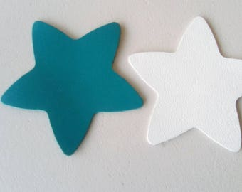 2 leather white and blue stars