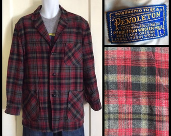 Vintage 1950's Pendleton Rockabilly Plaid Wool 49er Jacket Coat size Large