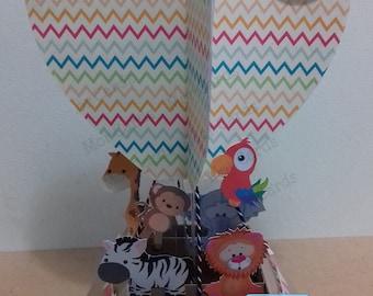 Hot air balloon animal card - birthday, new baby, Christening