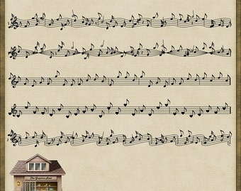 6 Music Musical Note Trims PNG *Instant Download*