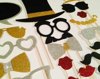 Fancy Photo Booth Prop Set ~ silver and Gold Edition ~ 21 pieces ~ Birthdays, Weddings, Parties ~ GLITTER Props ~ Includes Chalkboard Bubble