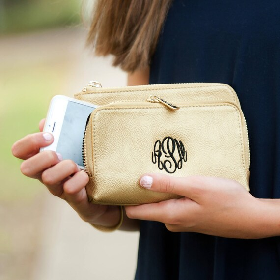 Gold Sloane Wristlet wallet vegan leather wallet gameday wristlet monogram wristlet personalized gift
