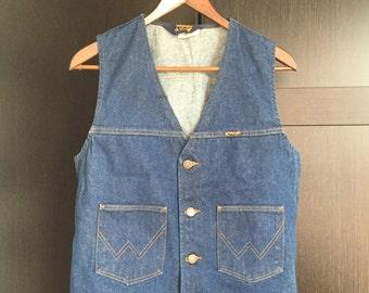 Vintage Wrangler Western Blue Jean Vest