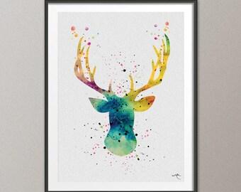 Deer Stag Antler Oh my Deer Horns Adventure Watercolor Art Print Art Print Hunter Wall Art Geekery Wall Decor Art Wall Hanging [NO 18]