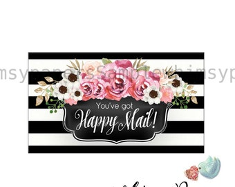 Happy Mail Stickers, Black Stripe Floral Labels