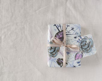 Winter Wedding wrapping paper,frosted floral Christmas giftwrap,gift wrap for women,presents for her, icy colors, pretty wrap, inkpaintpaper