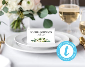 Wedding Place Cards Printable Place Card Template Editable Reserved Seating Cards Folded Name Card White Floral Place Cards Tent Cards