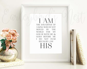 I am His - Black & White | INSTANT DOWNLOAD PRINTABLE | Wall Art - Home Decor - Office Decor - Typographic Print - Calligraphy Print