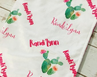 Personalized Cactus Print Minky Blanket// Personalized Baby Shower Gift // Boho Baby Blanket