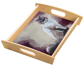 Seal Mitted Lynx Ragdoll Cat Wood Serving Tray with Handles Natural