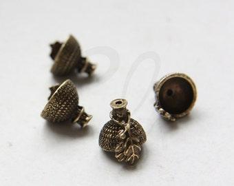 2 Pieces Antique Brass Metal Acorn Caps-15x13mm with Open Part 10mm (356C-M-394)