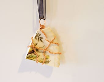 Broken Plate Pendant, Copper Wire Wrapped China
