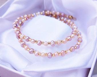 Crystal pearl bracelet crystal beaded jewelry simple bridal jewelry bridesmaid pink pearl bracelet delicate pearl Dainty beaded bracelet