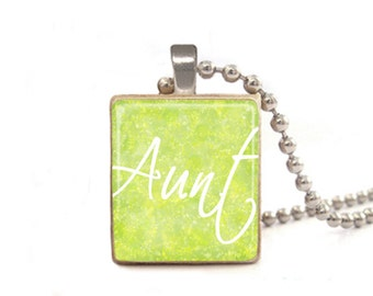 Green Aunt Necklace, Gift for Aunt, Auntie Pendant, Necklace for Sister, Wood Necklace, Game Piece Pendant, Aunt Charm, Square Jewelry