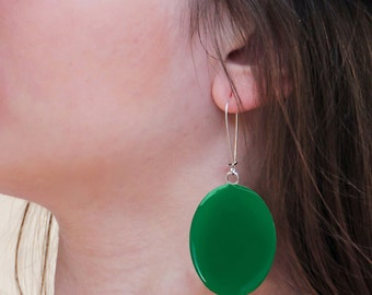 Emerald Green earrings, statement earrings, green resin earrings, modern minimalist, moss green earrings, big oval long lightweight earrings