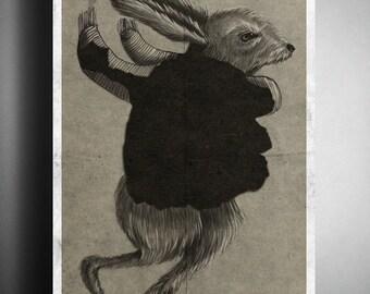 March hare - printable digital illustration