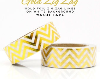 Gold Foil Zig Zag Lines on White Background Washi Tape