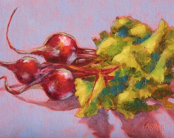 Oil Painting Art on Canvas, Beets, 8x6  Still Life on Purple