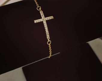 Rhinestone Cross Gold Bracelet