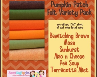 """Fall Felt Bundle-Wholesale Wool Felt-Felt Bundle-Wool Felt Sheets-Pumpkin Patch-9x12"""" Sheets Wool Felt-Craft Felt-Wool Blend Merino Felt"""