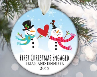 Our First Christmas Engaged Ornament, Engagement Ornament, Personalized Snowman Ornament, Custom Engagement Gift, Ceramic Ornament OR675