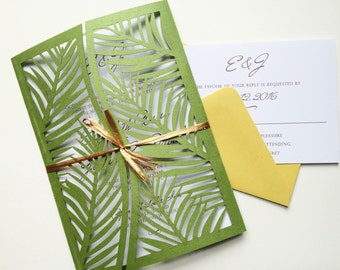 Laser Cut Palm Leaf Tree Wedding Invitation Gatefold Style, Green Palm Tree Wedding Invitation