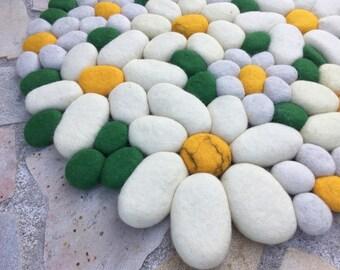 Felt stone rug wool super soft edelweiss