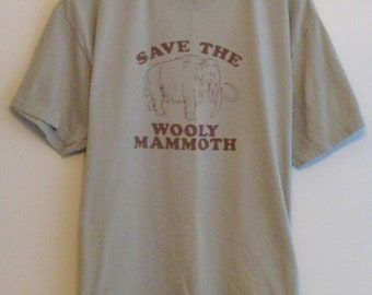 """90's """"Save The Wolly Mammoth"""" Olive/Grey T-Shirt"""