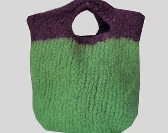felted Wool Green & Purple Bag,Handbag,bag,purse,felted bag, Gift for girl,Birthday gift,Valentine's Day Gifts