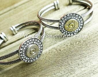 Handmade Swarovski Bullet Bracelet Cuff in Silver Bullet Cuff Bullet Bracelet