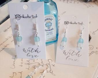 Recycled gin bottle glass bead earrings