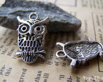 Antique Silver Owl Charms 14x22mm Set of 10 pcs A1843